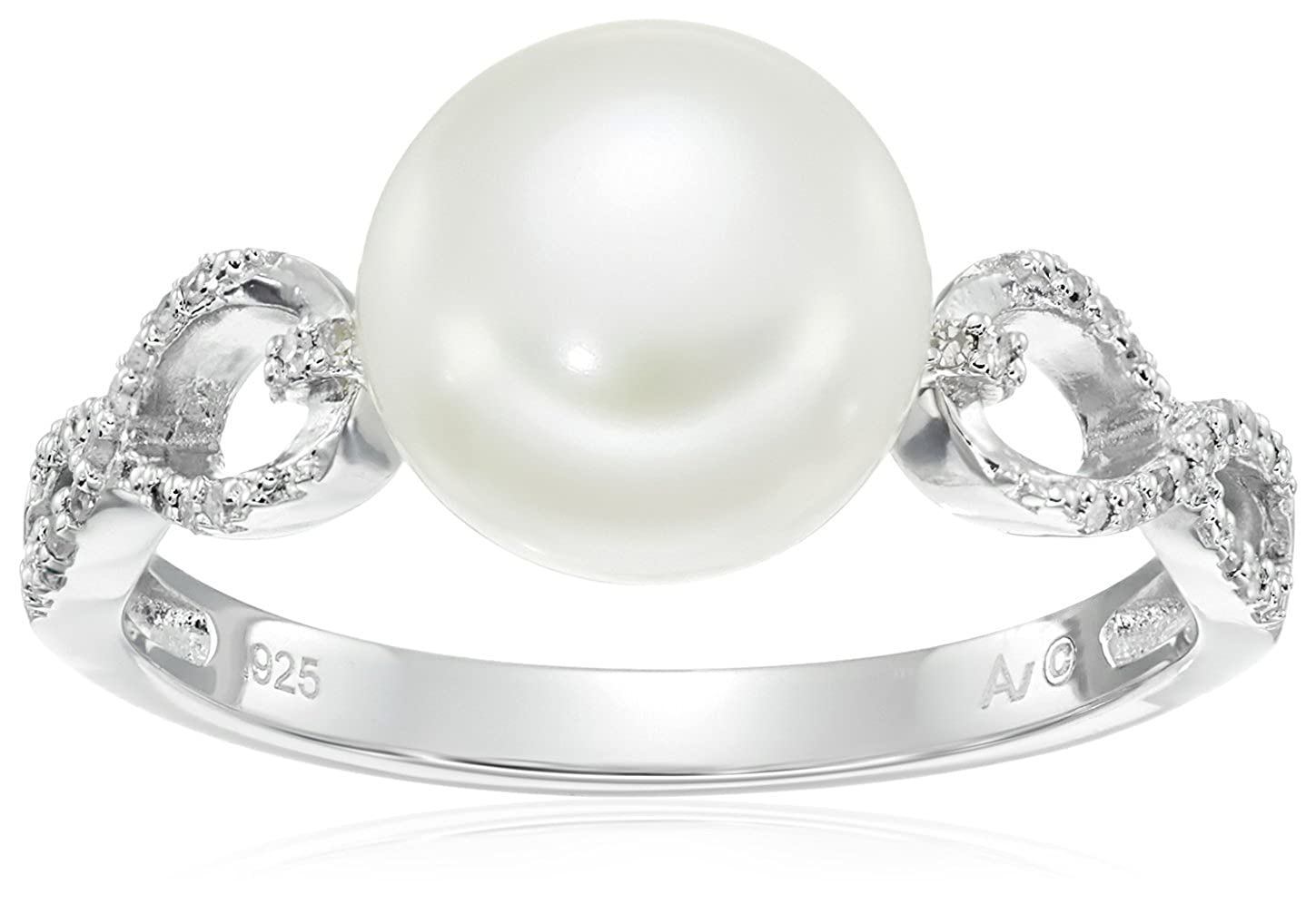 Sterling Silver Freshwater Cultured Pearl Interwoven Diamond Ring (1/10cttw, I-J Color, I2-I3 Clarity), Size 7 SM26743PF2-7AM