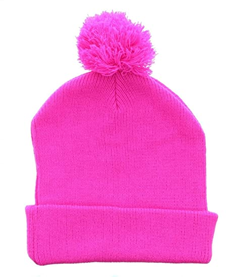 7eafd2675d950 Milani Winter Plain Neon Thick Pom Beanie with Cuff Skull Cap Hat Hot Pink  at Amazon Men s Clothing store