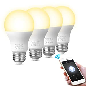 Smart Light Bulb WiFi LED Light Bulbs Compatible with Amazon Alexa Echo Dot Google Home Assistant and IFTTT A19 E26 9W Equivalent 60W Dimmable Warm Light 2700K No Hub Required 806LM AISIRER (4 Pack)