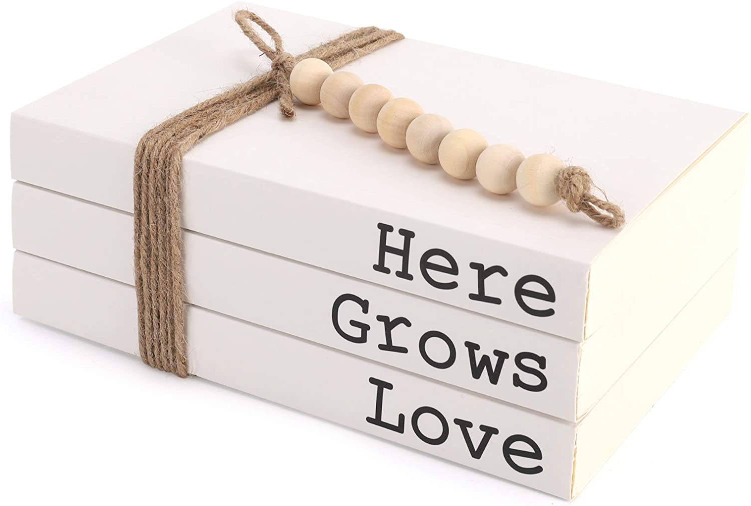 Decorative White Book,Here|Grows|Love Stacked Book(Set of 3),Rustic Stacked Books,Farmhouse Books for Coffee Table and Shelf Decor,Paperback Book