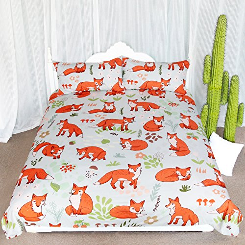Arightex Woodland Fox Bedding Cartoon Forest Fruits Duvet Cover Romantic Orange Foxes Comforter Set Kids Nature Duvet Cover (Queen)