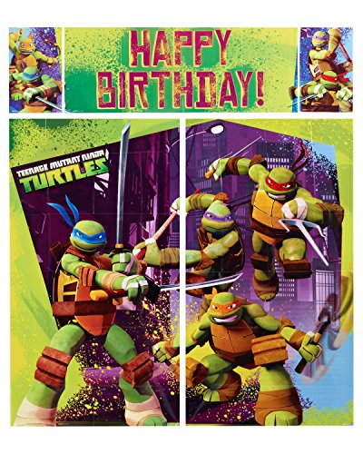 American Greetings Teenage Mutant Ninja Turtles Party Supplies, Scene Setter Wall Decorations, 5 piece set ()