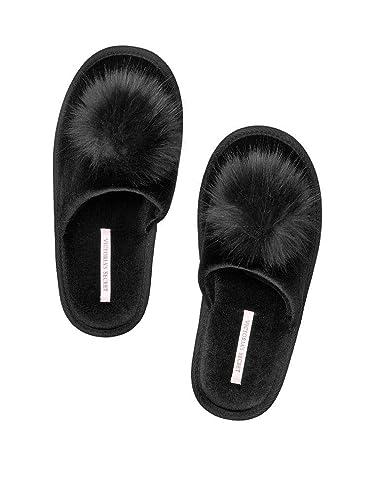 9d1d53a2b4ed Amazon.com  Victoria s Secret Pom pom Slipper Black Slides Large 9 ...