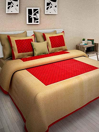 c821957986 Shop Jaipuri Cotton Rajasthani Double Bedsheet With 2 Pillow Cover 100% Cotton  Double Bedsheet Rajasthani Bedcover: Amazon.in: Home & Kitchen