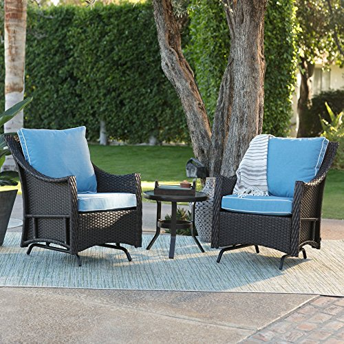 Blue Modern All Weather Wicker Glider Chairs with Side Table | Stylish Furniture Set for Your Home Outdoors by the BBQ Grill, Gazebo, Garden, Firepit , Porch or Pool