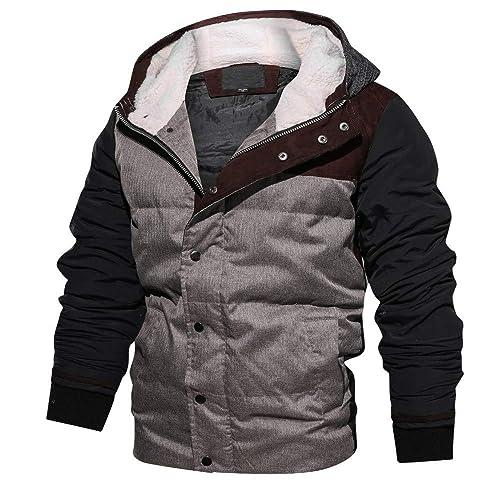 zarupeng Moda de invierno de los hombres engrosada sudadera con capucha abrigo de algodón transpirable de terciopelo de algodón rompevientos trinchera ...