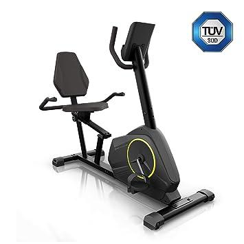 Klarfit Epsylon Relax • Bicicleta estática • Posición reclinada • Correa SilentBelt System • 24 Niveles