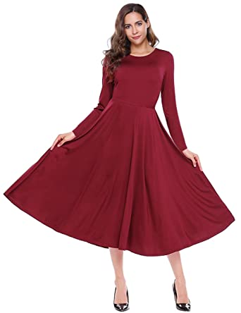62aa500a74d Leadingstar A-line Swing Dress Long Sleeve Fit and Flare Midi Dress  Burgundy S