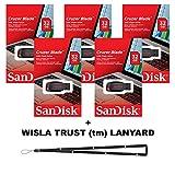 SanDisk Cruzer Blade 32GB (5 pack) SDCZ50-032G USB 2.0 Flash Drive Jump Drive Pen Drive SDCZ50-032G - Five Pack + BONUS Wisla Trust (TM) Lanyard