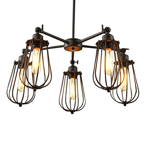 Vintage Country Rustic Dining Room Chandelier Fixtures 5 Heads Restaurant Ceiling Pendant Lights Northern Europe Bar