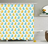 Rubber Duck Shower Curtain by Ambesonne, Baby Ducklings Pattern with Cute Little Hearts Love Animals Print Nursery Room, Fabric Bathroom Decor Set with Hooks, 70 Inches, Blue and Yellow