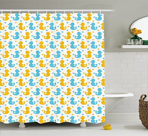 Rubber duck shower curtain hooks canada curtain for Curtain fabric for baby nursery