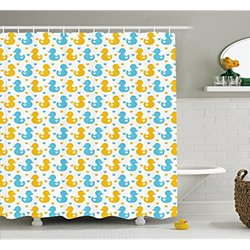 Ambesonne Rubber Duck Shower Curtain Baby Ducklings Pattern With Cute Little Hearts Love Animals Print Nursery Room Fabric Bathroom Decor Set Hooks
