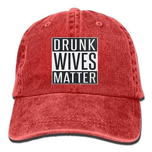 unk Wives Matter Unisex Adult Vintage Washed Denim Adjustable Baseball Cap Red ()