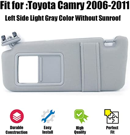 Gray SAILEAD Left Driver Side Sun Visor for 2007 2008 2009 2010 2011 Toyota Camry and Camry HV Without Sunroof and Light LH