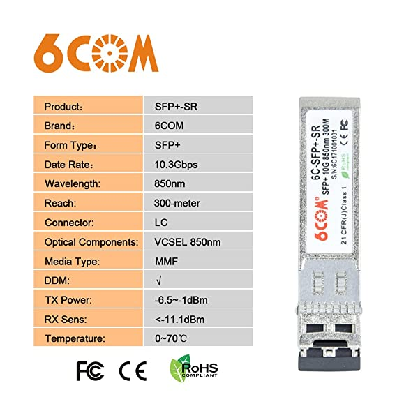 Optical Transceiver compatible Arista SFP-10G-SR 6COM 10G 850nm 300M SFP