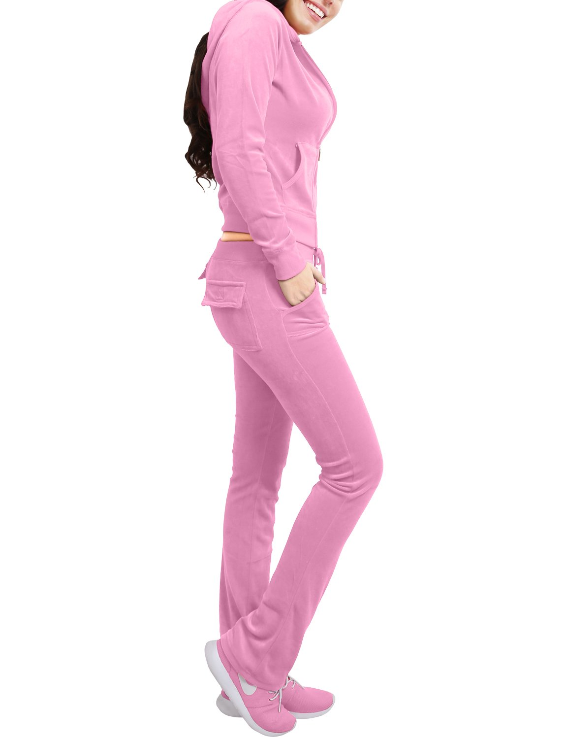 NE PEOPLE Womens Casual Basic Velour/ Terry Zip Up Hoodie Sweatsuit Set