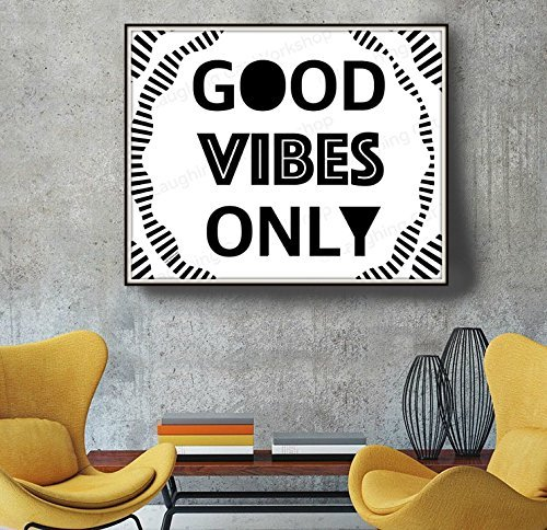 High Quality Good Vibes Only Inspirational Quote Print Typography Retro Wall Art Black  And White Print Minimalist Print