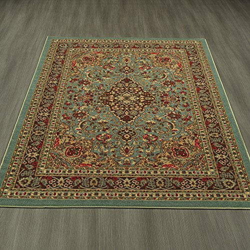 Ottomanson Ottohome Collection Persian Heriz Oriental Design with Non-Skid (Non-Slip) Rubber Backing Area Rug,5'0 X 6'6, Sage Green/Aqua Blue (Backing Rug)