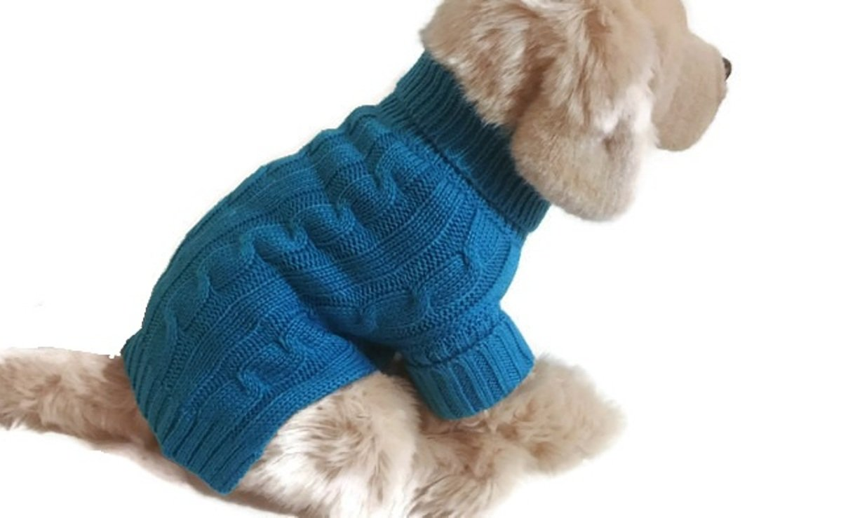 Large Azure bluee Small Dog Sweater Cable Knit Puppy Clothes Cute Winter Apparel (Large)