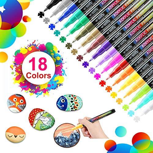 🥇 18 Colores Rotuladores de Pintura Acrílica Rotuladores Permanentes de Colores Rotuladores Acrilicos Permanentes Pintura para Tela
