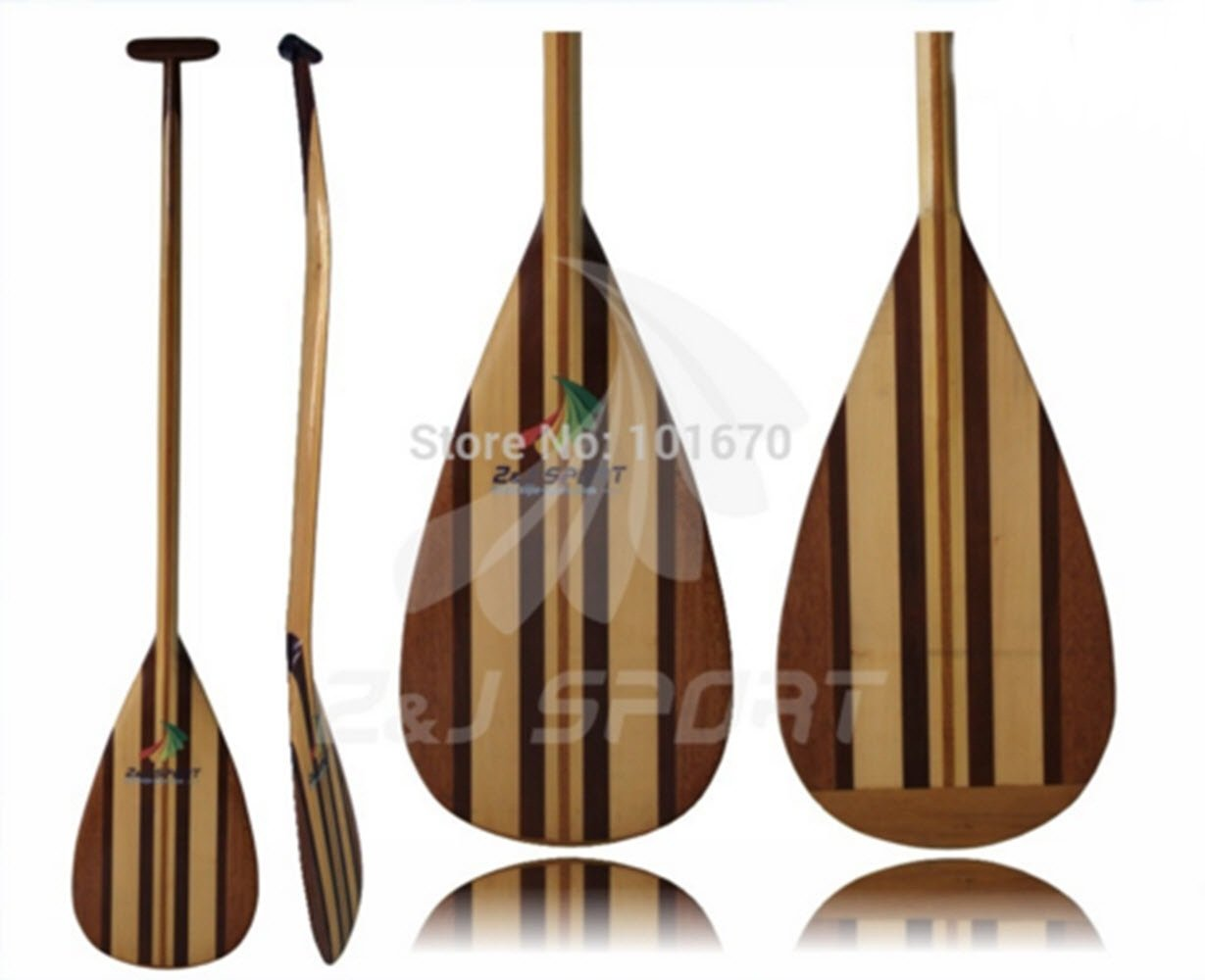 Kayak Paddle Wood wooden outrigger canoe paddle with Fiberglass Reforced