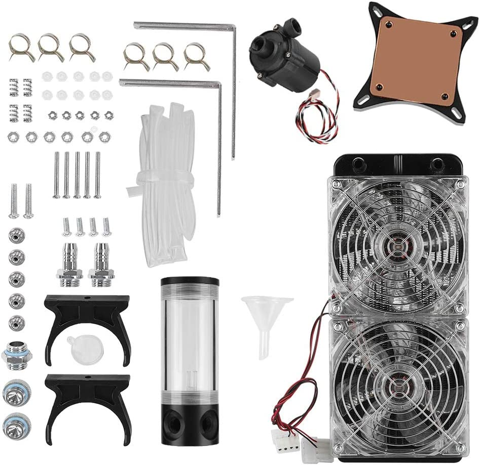 Computer Water Cooling Kit, Water Cooling Kit, DIY Liquid Cooling Set with LED Fan, Water Tank, Water Cooling Head, S600 Pump and Aluminum Row