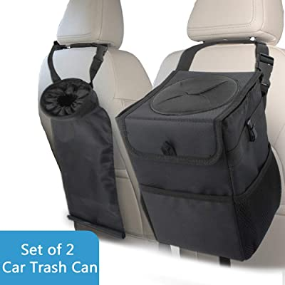 GES Car Trash Can and Litter Trash Bag (Set of 2), Car Trash Bag with Lid Hanging for Headrest with 3 Storage Pockets, Portable Collapsible Car Accessories Organizer for Car, Travelling, Outdoor: Automotive