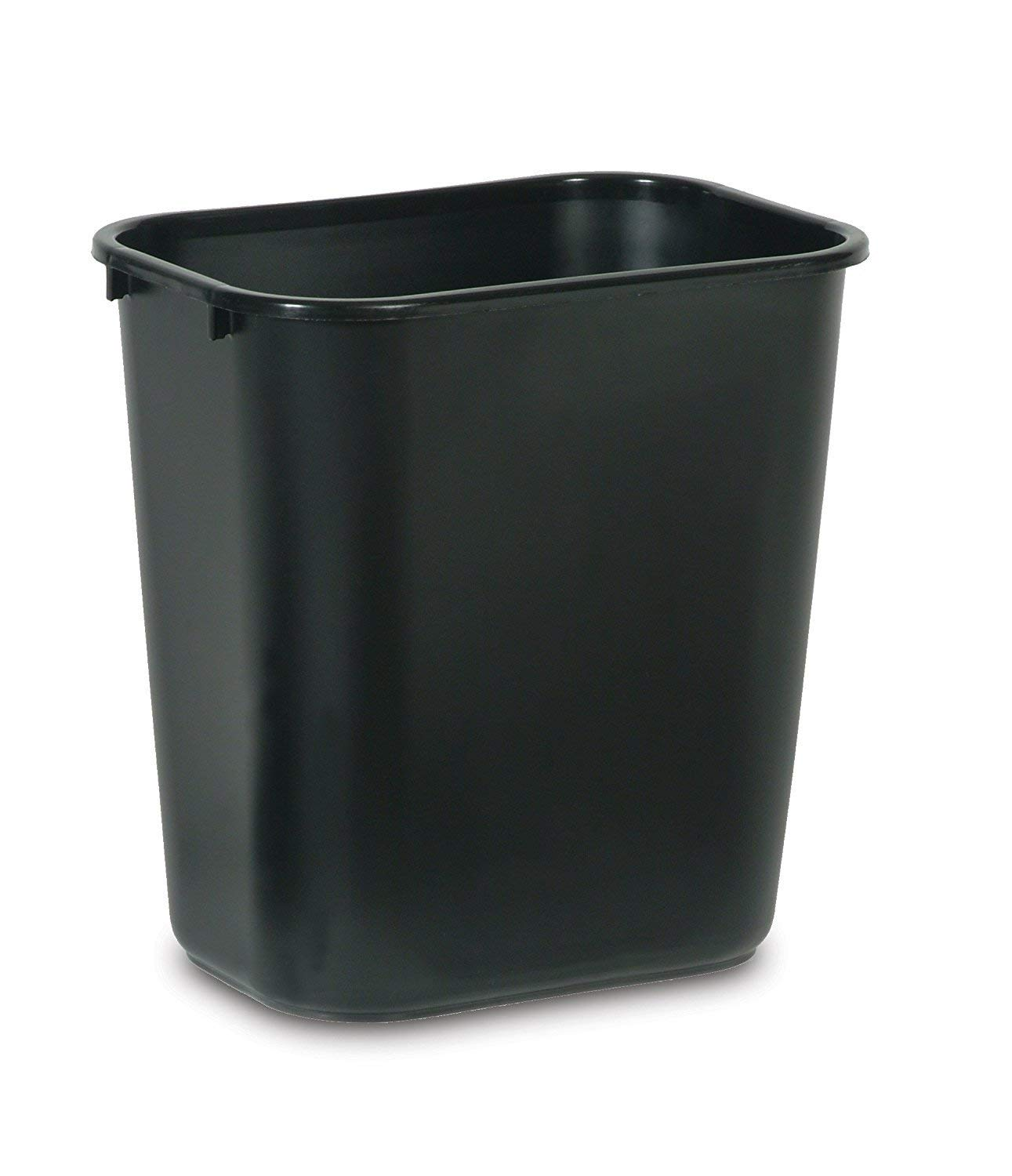 Rubbermaid Commercial Products 2063171 Plastic Resin Deskside Wastebasket, 7 Gallon/28 Quart, Black (Pack Of 4)