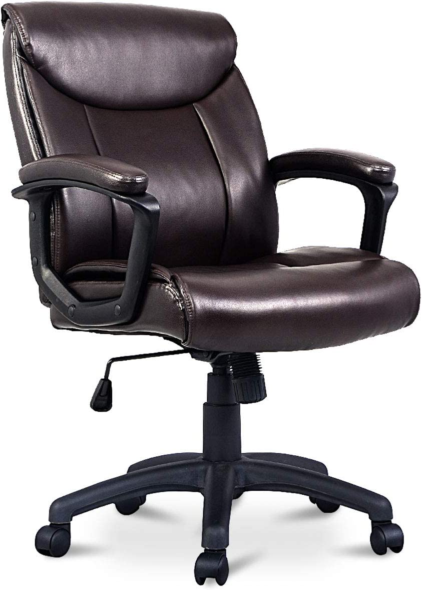 Giantex Mid Back Office Chair PU Leather Ergonomic Adjustable Computer Desk Chair with Padded Armrest and Swivel Wheels, Task Office Chair Brown 26.5 x 26.5 x 38.5 -42