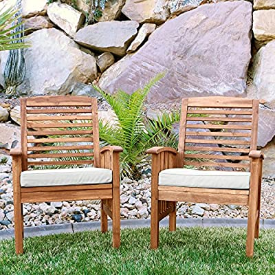 "Walker Edison Furniture Company Solid Acacia Wood Patio Chairs (Set of 2) - Brown - Dimensions: 37"" H x 24"" L x 20"" W Made with solid acacia wood , perfect for outdoor use Includes 2 chairs. Each chair supports up to 250 lbs. - patio-furniture, patio-chairs, patio - 61lTd7ZzXDL. SS400  -"