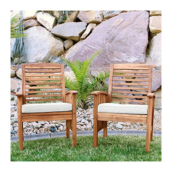 """Walker Edison Furniture Company Solid Acacia Wood Patio Chairs (Set of 2) - Brown - Dimensions: 37"""" H x 24"""" L x 20"""" W Made with solid acacia wood , perfect for outdoor use Includes 2 chairs. Each chair supports up to 250 lbs. - patio-furniture, patio-chairs, patio - 61lTd7ZzXDL. SS570  -"""