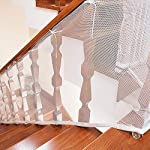 Aolvo Railing Safety Net, 10ft L X 2.5ft H Indoor & Outdoor Balcony and Stairway Childrens Stairs Protective Netting, Durable Baby Toddlers Kids Pet Banister Stair Protector Net(3M, White)