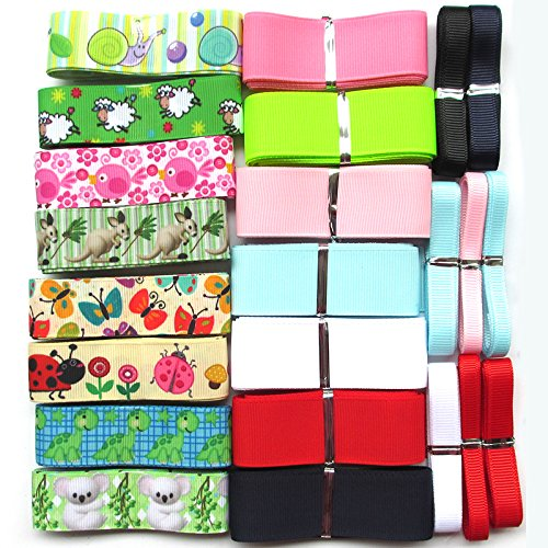 Chenkou Craft Sheep Snails Kangaroo Butterfly Ladybird Bear Grosgrain Ribbon Assorted Size Color (Animal Lots)
