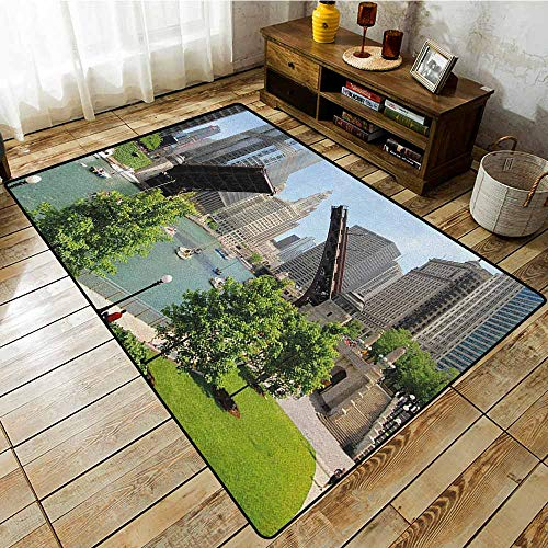 Classroom Rug,United States,Downtown Chicago Illinois Finance Business Center Lake Michigan Avenue Bridge,Easy Clean Rugs ()