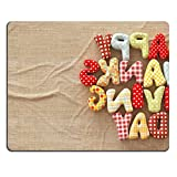 Natural Rubber Gaming Mousepad IMAGE ID: 32725436 Autumn Thanksgiving Day composition with handmade text on canvas background Unusual thanksgiving day illustration Top view
