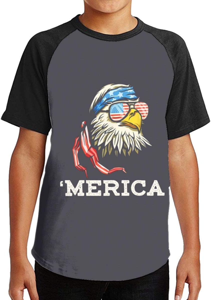 American Cool Eagle Youth Kids T Shirt 3D Printed Short Sleeve Crew Neck Tees Shirts for Boys Children