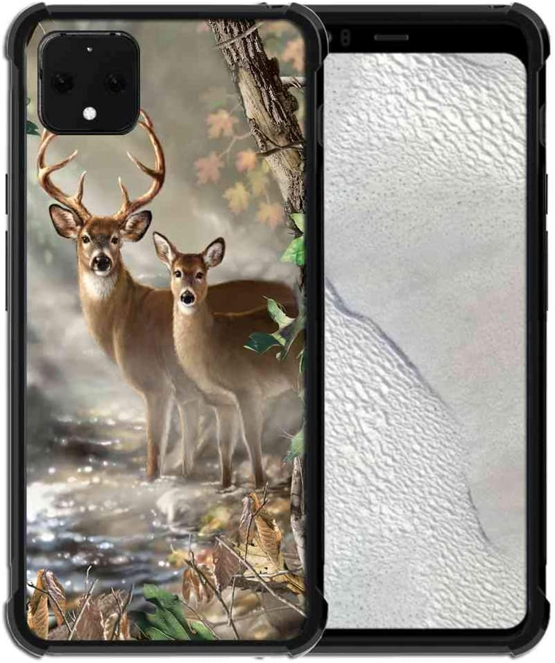 for Google Pixel 4 Case Vector Forest Deer Pattern, ABLOOMBOX Slim Thin Anti-Scratch Flexible Bumper Case with Reinforced Corner for Google Pixel 4 Phone Case (2019)