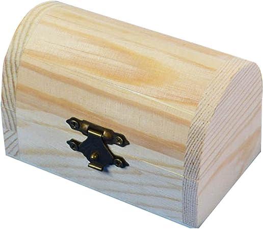 Szaerfa Pequeña Caja de Madera Cofre del Tesoro Joyería Caja de Regalo Caja de Regalo Caja de Almacenamiento de Artesanía de Arte de Los Niños Caja del Tesoro Sin Pintar: Amazon.es: Hogar