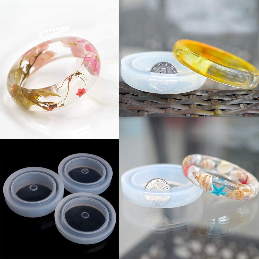 Jiamins Moule Rond de Moulage de Silicone pour la r/ésine Bracelet Bracelet Bijoux Outil Bricolage Chaud Moules /à Bijoux en r/ésine 63mm