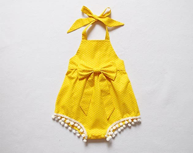 5ec5a0e18 Amazon.com  SALE Yellow Polka Dot Baby Girl Romper Pom Pom Bubble ...