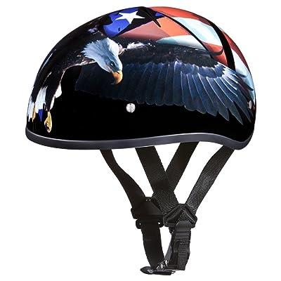Daytona Helmets Motorcycle Half Helmet Skull Cap- Freedom 100% DOT Approved: Automotive