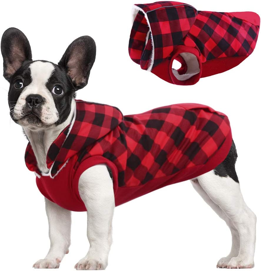 Kuoser British Style Plaid Dog Winter Coat, Windproof Cozy Cold Weather Dog Coat Fleece Lining Dog Apparel Reflective Dog Jacket Dog Vest for Small Medium Dogs with Removable Hat Red XXS : Pet Supplies