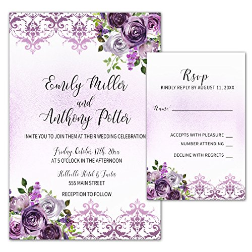 100 Wedding Invitations Purple Plum Lavender Damask Floral Design + Envelopes + Response Cards Set (White Kit Invitations Damask)