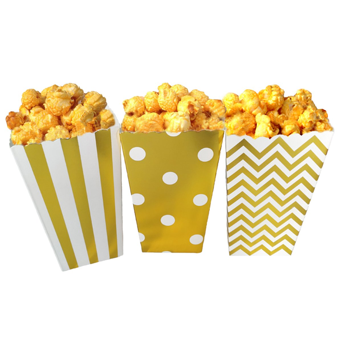 JCX Paper Popcorn Bags, Mini Movie Theater Party Paper Bags, 36 Pieces,Gold