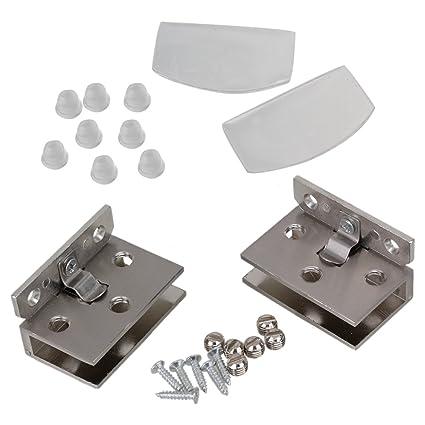 BQLZR plata tono acero inoxidable Gabinete de cristal puerta ...