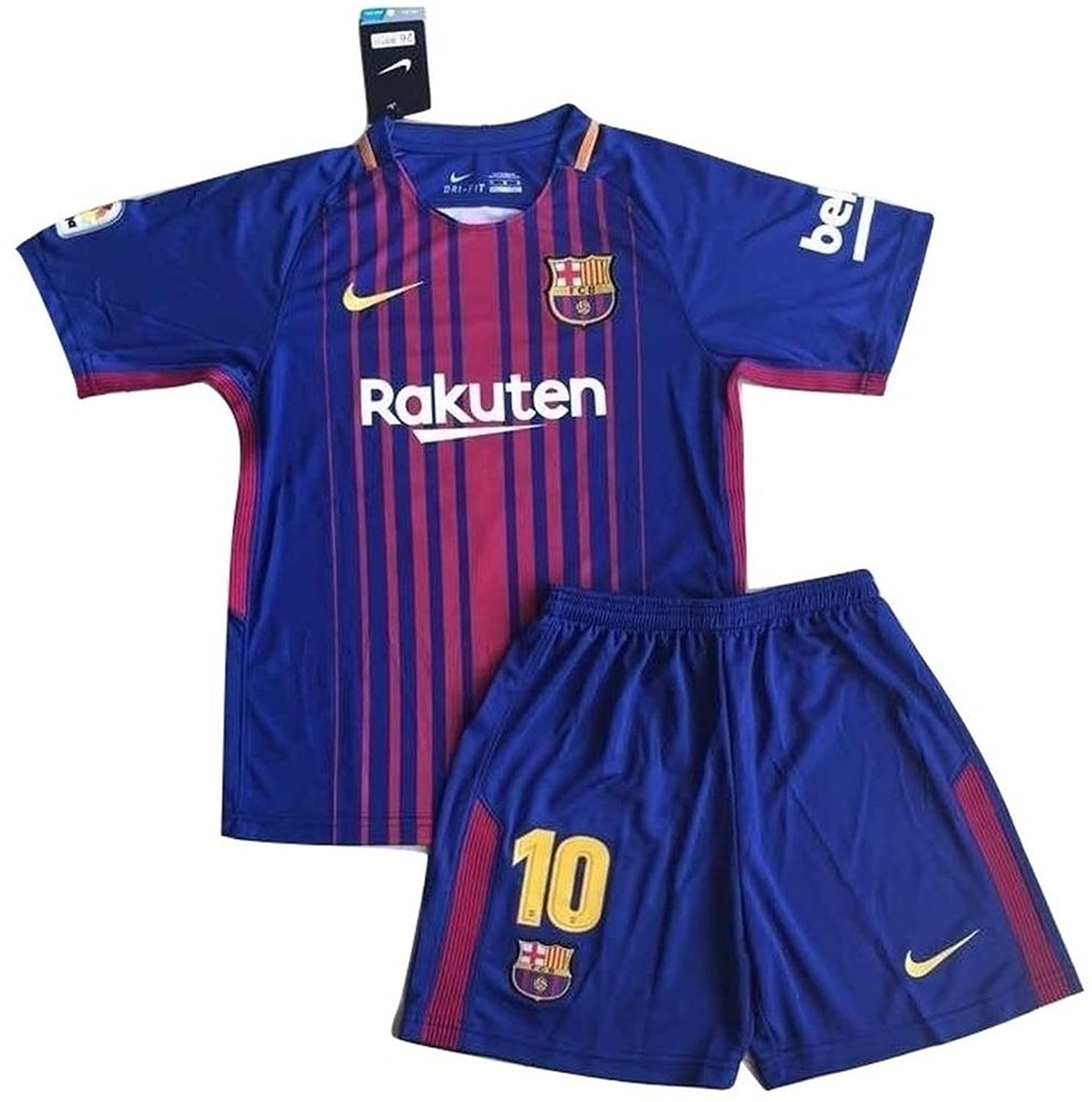 Messi #10 NEW 2017-2018 FC Barcelona Home Jersey \u0026 Shorts for Kids/