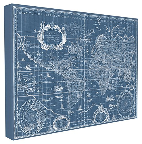 (Stupell Home Décor Vintage Blueprint World Map Stretched Canvas Wall Art, 16 x 1.5 x 20, Proudly Made in USA)
