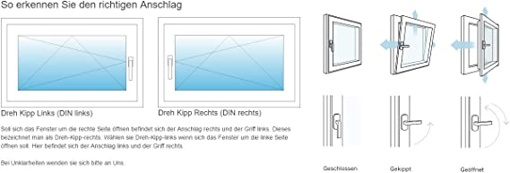 Lagerware Kunststoff 3-Fach-Verglasung wei/ß Kellerfenster Fenster BxH 800x500 // 80x50 DIN Links Wunschma/ße m/öglich
