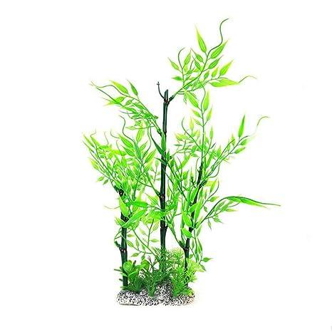 fangfei Planta de Hojas de bambú Verde césped del Acuario Acuario Decorativo Césped Artificial